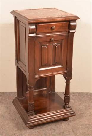 Victorian Walnut Marble-Top Smoking Stand.
