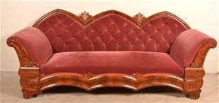 American Gothic Revival Flame Mahogany Veneer Sofa.