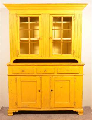 PA Chippendale Softwood Two-Part Dutch Cupboard.