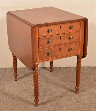 Pennsylvania Sheraton Cherry Two-Drawer Workstand.