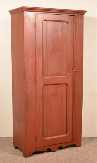 Late 19th Century Red Painted Softwood Cupboard.
