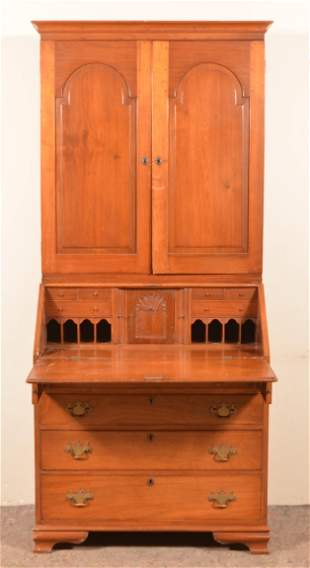 PA Chippendale Walnut Slant-Lid Secretary Desk.