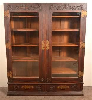 American Arts and Crafts Oak China Cabinet.