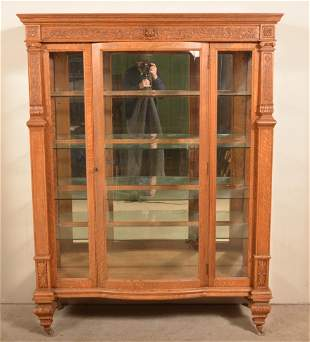 American Carved and Molded Oak China Cabinet.