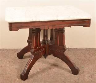 Eastlake Victorian Walnut Marble Top Parlor Table.