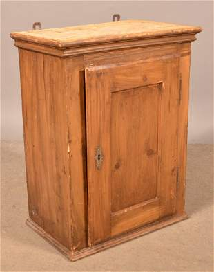 Antique Softwood Blind-Door Hanging Cupboard.