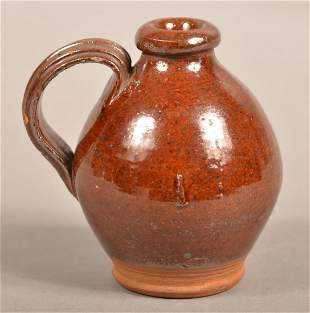 PA 19th Century Glazed Redware Miniature Jug.