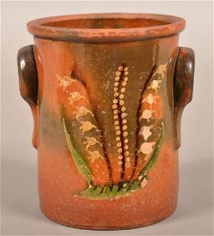 Rare New England 19th Cent. Redware Slip Decorated Jar