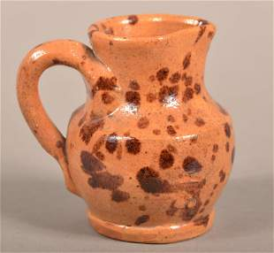 PA 19th Century Miniature Glazed Redware Pitcher.