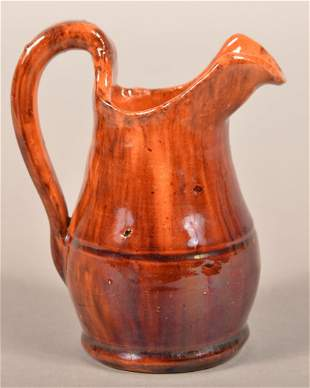 John Bell Mottle Glazed Redware Small Pitcher.