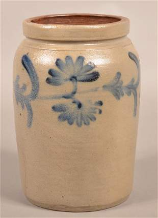 Unsigned 19th Century One Gallon Stoneware Jar.