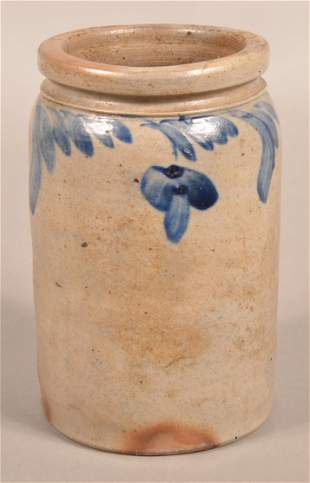Stoneware Jar with Cobalt Foliate Slip Decoration.