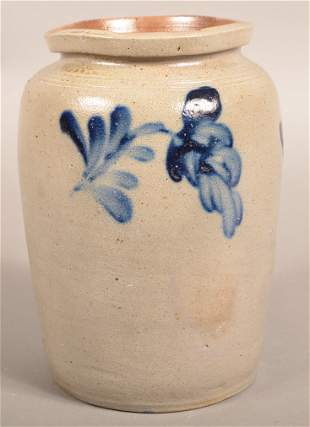 19th Century Cobalt Blue Decorated Stoneware Jar.