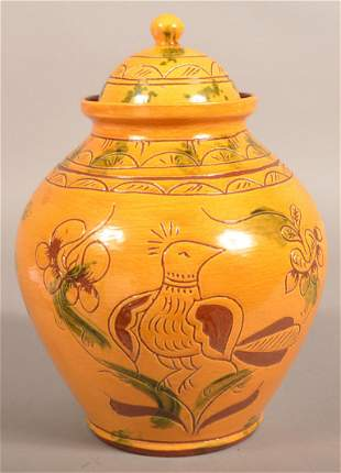 Breininger Pottery Sgrafitto Decorated Cookie Jar.
