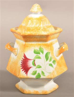 Yellow Spatter China Thistle Pattern Sugar Bowl.