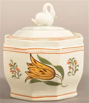 Leeds Soft Paste China Tulip Pattern Covered Sugar Bowl