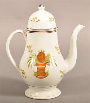 Leeds Soft Paste China Pineapple Dome Lid Coffee Pot.