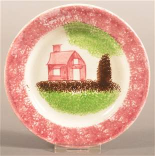 Red Spatter School House Pattern China Cup Plate.