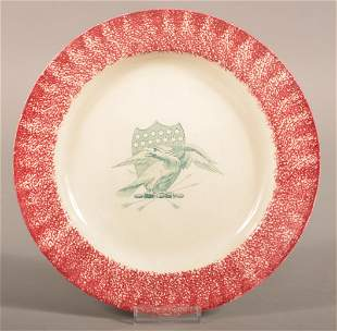 Red Spatter China Eagle & Shield Pattern Plate.