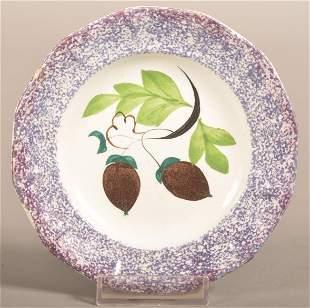 Purple Spatter Ironstone China Acorn Pattern Cup Plate.
