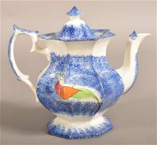 Blue Spatter China Peafowl Pattern Paneled Coffee Pot.