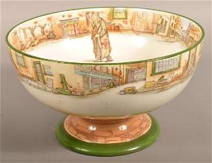 "Royal Doulton ""Dickens-Ware"" Footed Punch Bowl."