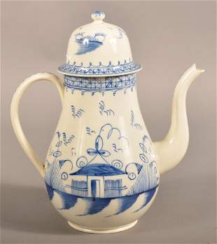 Leeds Pearlware Soft Paste China Dome Lid Coffee Pot.