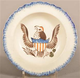 Leeds Soft Paste China Eagle Decorated Cup Plate.