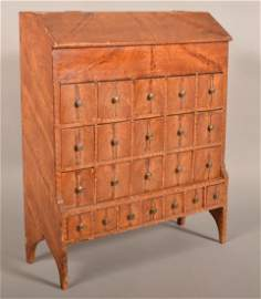 Rare John Boyer Paint Decorated Wood Seed Chest.