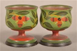 Pair of Lehnware Floral Decorated Footed Master Salts.