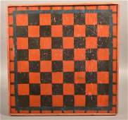 Antique Paint Decorated Pine Game Board.