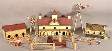 PA Antique Folk Art Tinsmith Made Farmstead.