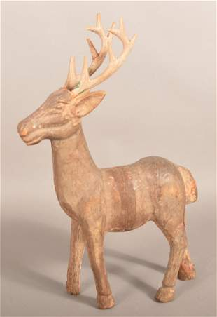 Antique/Vintage Carved Wood Stag Garden Sculpture.