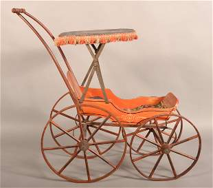 19th Century Painted Wood Doll Carriage.