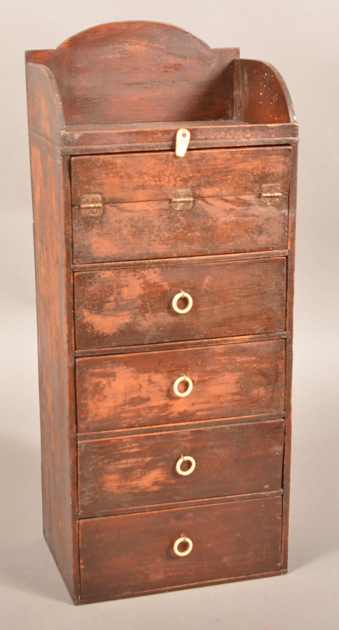Antique Mixed Wood 5-Drawer Sewing Cabinet.