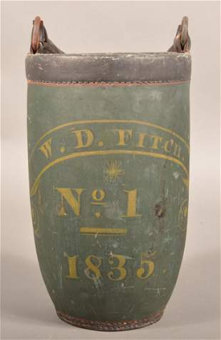 American Painted Leather Fire Bucket.