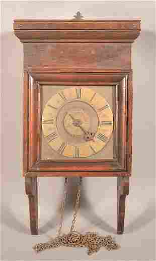 18th Century Pine Case Weight-Driven Wall Clock.