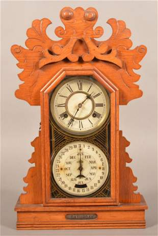 Antique Oak Case Double Dial Calendar Shelf Clock.