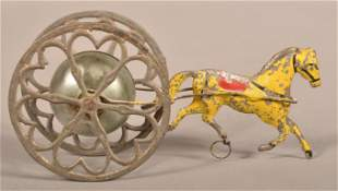 Antique Tin Horse Drawn Bell Pull Toy.