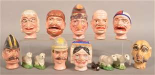 Painted Wood and Composition Marionette Heads.