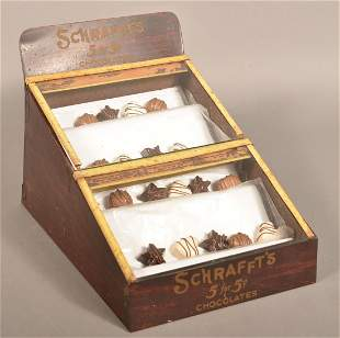 Schrafft's Chocolate Tin Counter-Top Display Case.