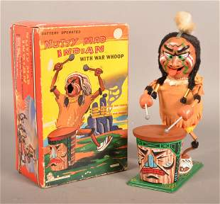 """Vintage Marx Battery Operated """"Nutty Mad Indian"""" Toy."""