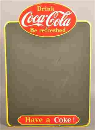 Vintage Coca-Cola Tin Blackboard Menu Sign.