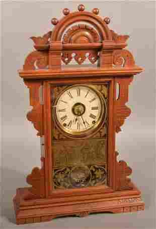Seth Thomas Eastlake Victorian Walnut Shelf Clock.
