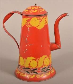 Rare PA 19th Century Red Toleware Coffee Pot.