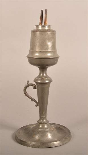 American 19th Century Pewter Whale Oil Lamp.