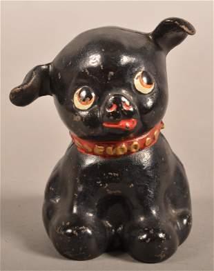 Hubley Black Fido Pup Cast Iron Still Bank.