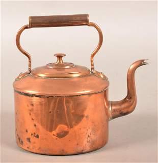 English 19th Century Three Pint Copper Tea Kettle.