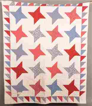 Antique Star Pattern Patchwork Youth Quilt.