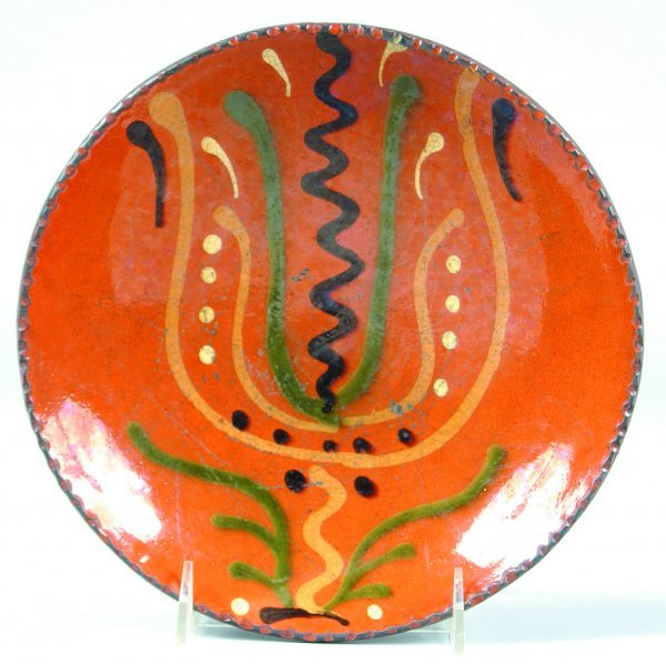 2: Greg Shooner 2003 Redware Tulip Slip Decorated Plate